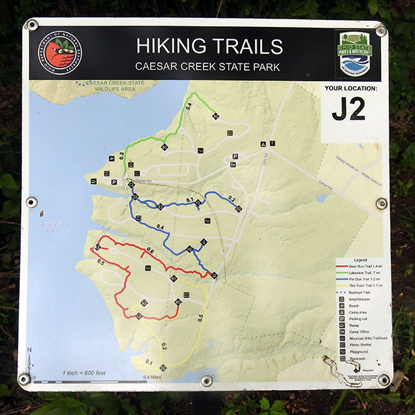 Hiking Trail Map at Caesar Creek State Park Campground in Wilmington Ohio