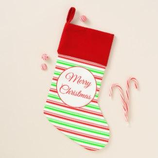 Candy Striped Velvet Lined Merry Christmas Stocking