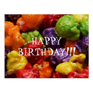 Candied Popcorn Happy Birthday Postcard