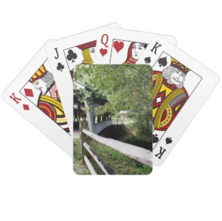 Covered Bridge with Wooden Fence Playing Cards