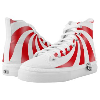 Red Swirl Design High Top Tennis Shoes