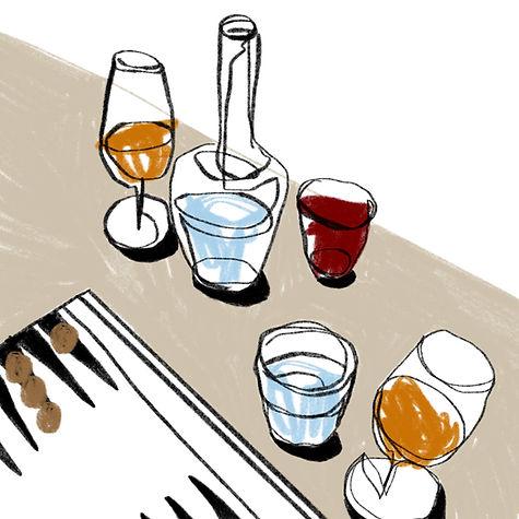 water, negroni and backgammon .JPG