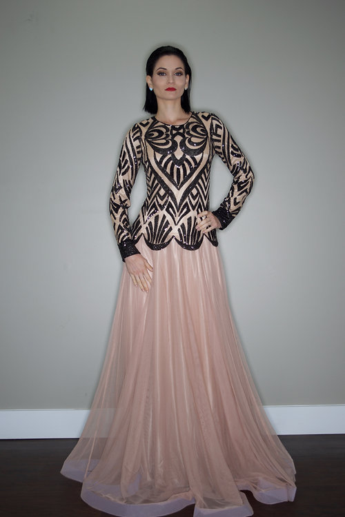 ziamara | Black and Nude Beaded Evening Gown