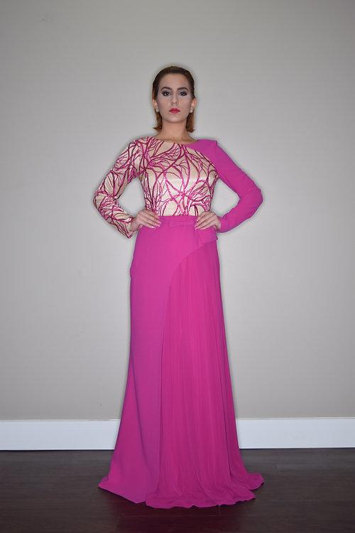 ziamara | Romantic Fuchsia Evening Dress