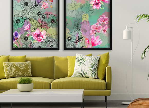 Posy's pair Print - Poster Size NO FRAME