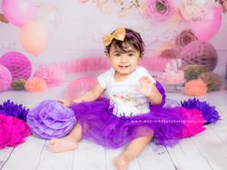 Purple & Pink Cake Smash Session - 1 year Old Baby Girl Cake Smash Photoshoot Mumbai Photographer