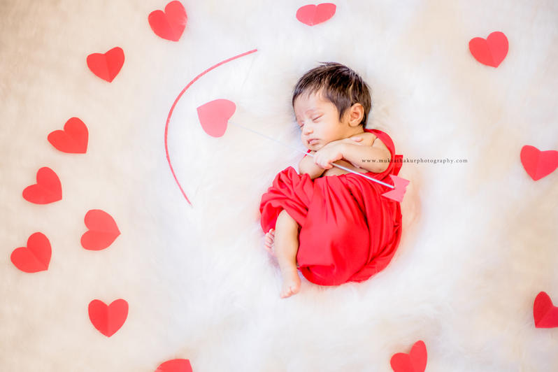 Valentine's day theme newborn photography mumbai   Mukta Thakur Photography