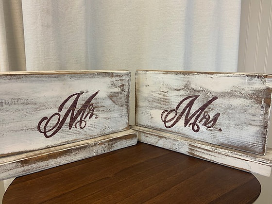 White Wooden Mr. & Mrs. Signs