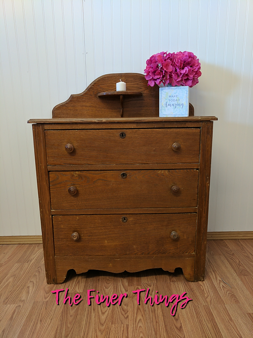 Vintage Oak 3 Drawer Dresser