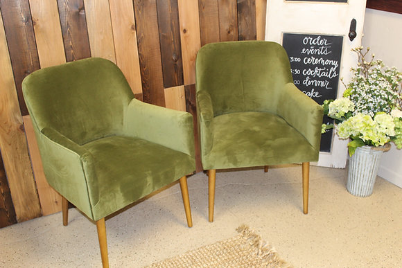 Mid-Century Modern Olive Side Chairs