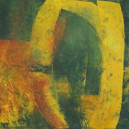 O | Cold Wax on Wood | 16x16