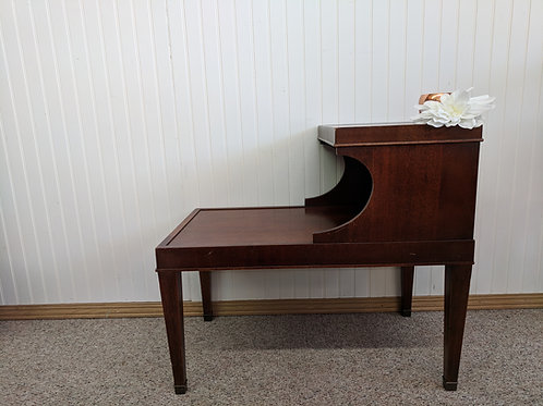 Midcentury Leather Top End Table (2 Tier)