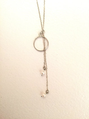 Circle with Chains Necklace | Sterling Silver, Uncultured Pearls