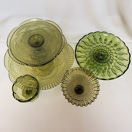 Green Moss Cake Plates