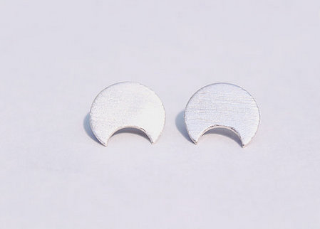 Large Crescent Studs|  Sterling Silver