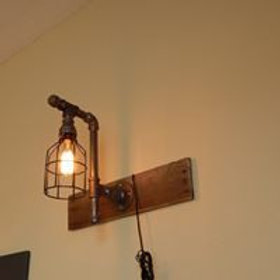 Sconce Pipe Light w| Cage