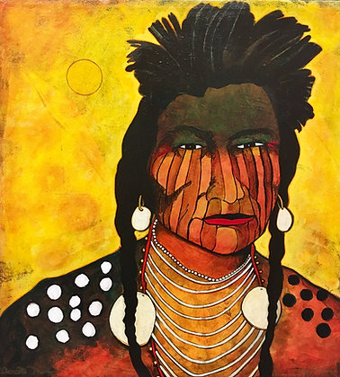 "Crow Indian Warrior | Acrylic on Canvas | 24x22"""