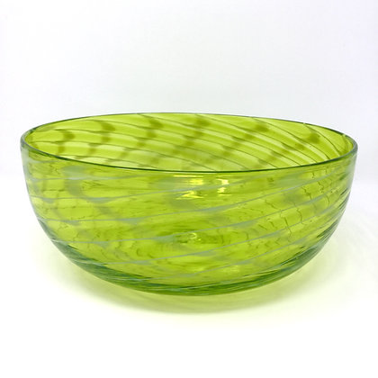 Lime Green Optic Wrap Bowl | Hot Glass | 3.5x9.5