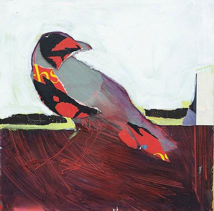 Crimson Blush   Collage on Wood   12x12