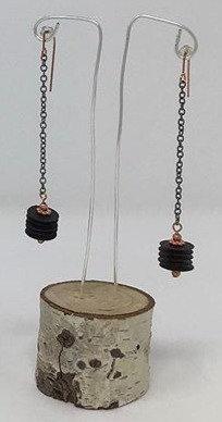 "Sequin Drop Earrings | Copper, Plastic, Metal | 3"" | Celinda English"