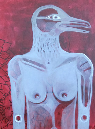 "Sea Bird Woman | Acrylic on Canvas | 24x18"""