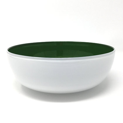 White, Adventurine Green Bowl | Hot Glass | 4x9
