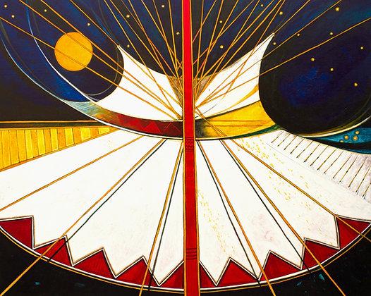 "Abstract Plains Indian Tipi | Acrylic on Canvas | 48x60"""