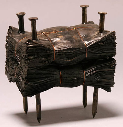 """Kate Hunt   Black Block #9   Newspaper, Steel, Burnt Wax   6x6x4"""""""