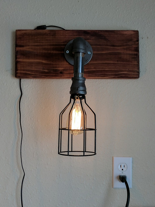 One Bulb Pipe Light with Cage