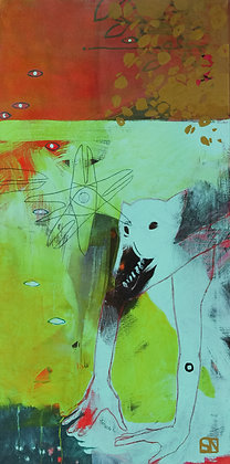 Lost Boy and Crow Star | Acrylic on Canvas | 48x24