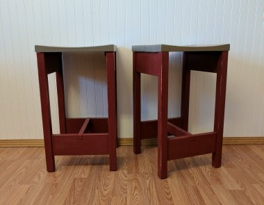 red and gray stools