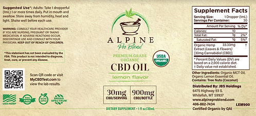 Organic CBD Oil Tincture 900mg Lemon