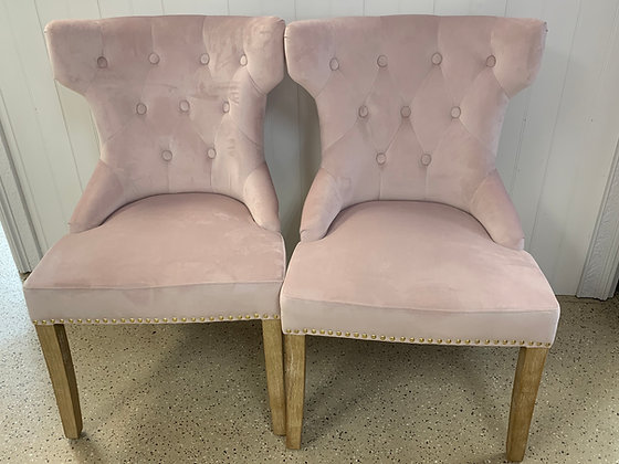 Pink Tufted Side Chair Set