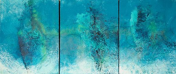 copy of Breech | Cold Wax on Wood | 13.5x31 Triptych