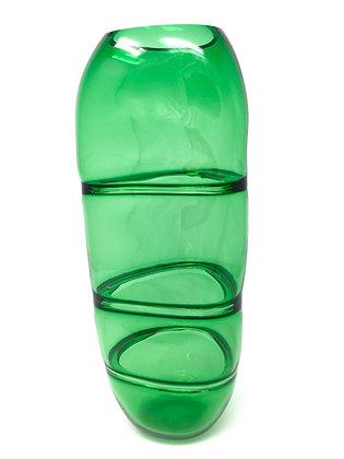 Geometric Segmented Vessel | Forest Green | Hot Glass | 12x5.5