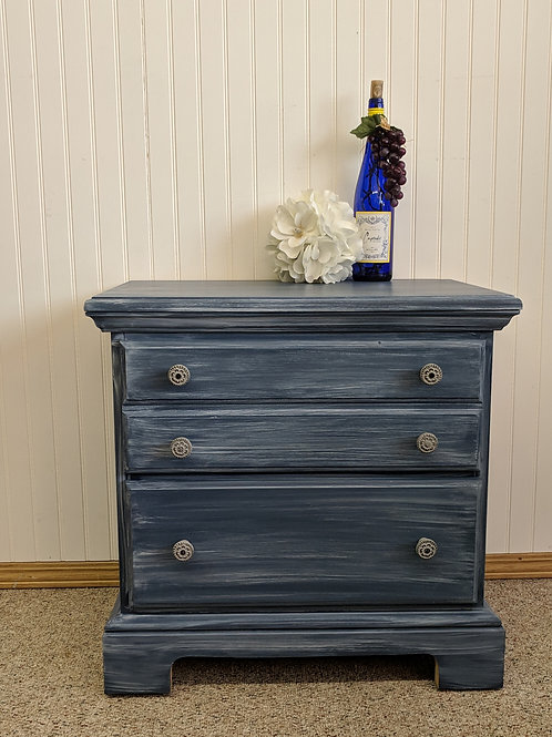Blue Painted Night Stand w| Drawers