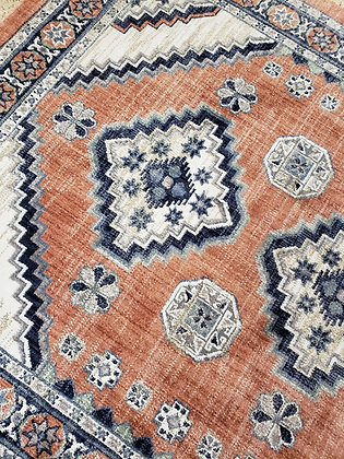 Blue, White, Grey & Rust Multicolor Rug