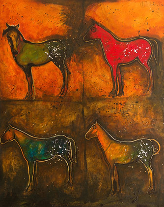 Crow Indian Ponies, Buffalo Runners | Acrylic on Canvas | 30x24""