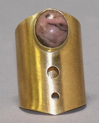 Brass and Rhodochrosite Ring | Brass, Rhodochrosite | Size 7
