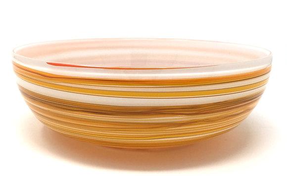 Eddie Magliaro   Opal White Orange Ribbon Bowl   Hot Glass   3x9