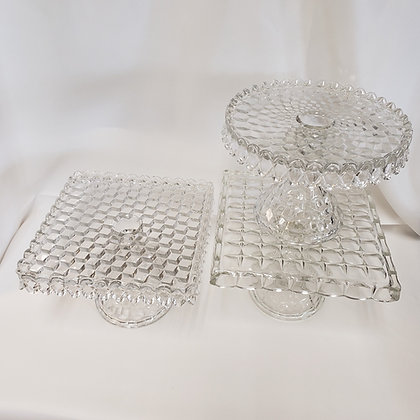 Clear Textured Cake Plates