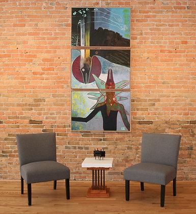 "No Fear | Acrylic on Canvas | 24x36"" (each panel) Triptych"