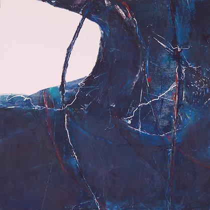 Tethered | Cold Wax on Wood | 14x14