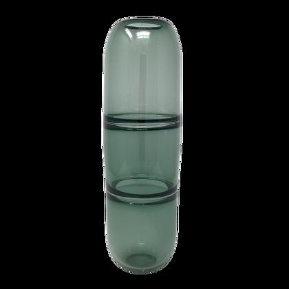 Eddie Magliaro   Segmented Vessel   Grease Gray   Hot Glass   12.5x3.5