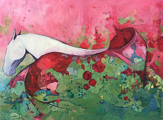 Strawberry Fields | Oil, Acrylic, Charcoal on Canvas, 36x48