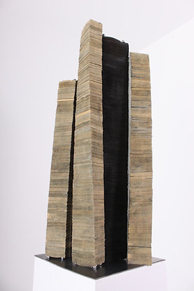 Pedestal, Newspaper, Encaustic, Steel Pedestal | 83x15x15