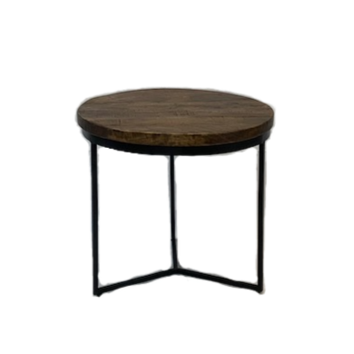 Round Wood Top Side Table