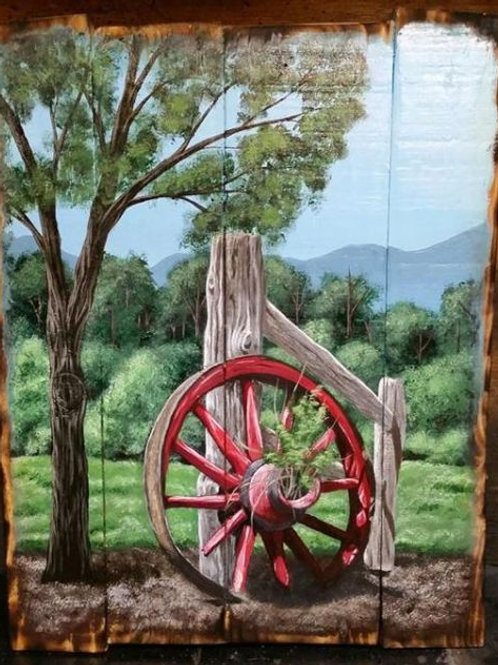 Wagon Wheel Pallet Painting
