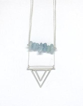 Aquamarine Triangle Necklace | Sterling Silver,Aquamarine