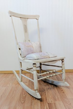 white painted rocking chair
